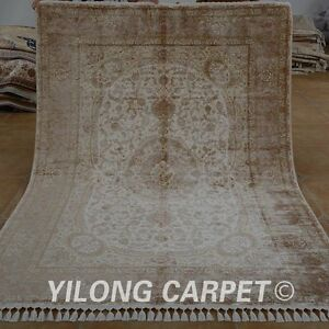 YILONG 5.6'x8' Handknotted Silk Persian Rug Medallion Durable Floor Carpet 1560