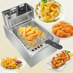 2500W 6L Electric Deep Fryer Commercial Countertop Basket French Fry Restaurant $46.98