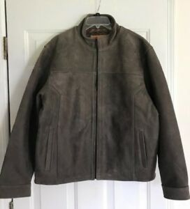 NWOT TERRITORY AHEAD Brown Men's Quality Dusty Leather Bomber Jacket Size L
