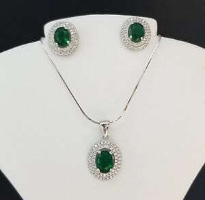925 Sterling Silver Oval Green Emerald White Topaz Pendant Necklace Set