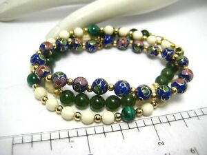 Trio of Vintage Bead Bracelets 14K Gold Clasps and Beads Jade Cloisonne