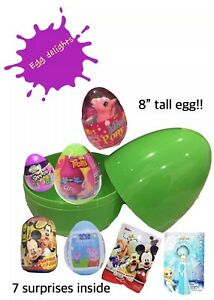 JUMBO SURPRISE EGG WITH 7 Surprises Mickey Mouse, Peppa Pig, Shopkins, Trolls!