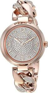 NWT MICHAEL KORS Ellie Rose Gold Pave Crystal Dial Chain Bracelet Watch MK3635