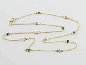 Diamond And Sapphire By The Yard Station Necklace 14k Yellow gold 18