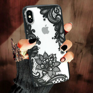 Wedding Lace Mandala Hard Clear Phone Case Cover For iPhone 7 8 Plus X XS Max XR
