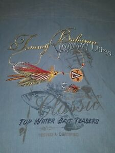 Tommy Bahama  Embroidered Silk Shirt Legendary Lures Top Bait fly fishing Small