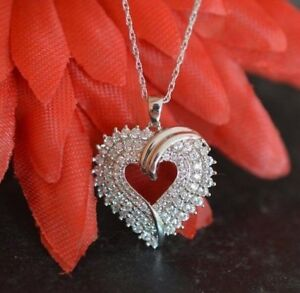 14K White Gold FN Open Heart Shape Diamond 925 Silver Pendant Necklace Chain 18