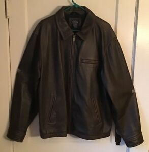 Sonoma Distressed Brown Leather Bomber Flight Jacket- Men's Size XL-Excellent!!!