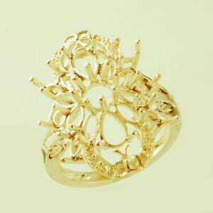 Semi Mount 5 MM Round Shape Cocktail Ring 10k Yellow Gold Christmas Gift Jewelry