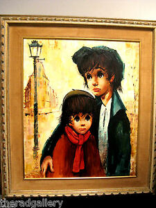 Vintage Oil Painting Canvas Mid Century Big Sad Eye Children Signed Framed