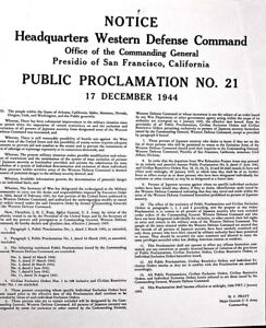 FURTHER NOTICE JAPANESE-AMERICANS WW 2 1944 WESTERN COMMAND ROUND UP OF CITIZENS