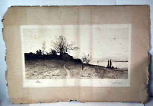 20quot; Antique Etching Signed E.L. Field Old Cottage And Sailboats Seascape $299.99