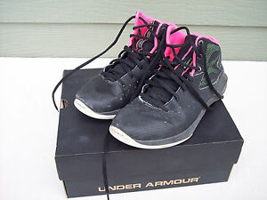 Under Armour Girls Athletic Shoes Sz 4.5 4 12 Black Pink BGS ROCKET Basketball