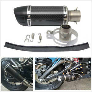 1x Universal 51mm Real Carbon Fiber Motorcycle ATV Exhaust Muffler Pipe Silencer