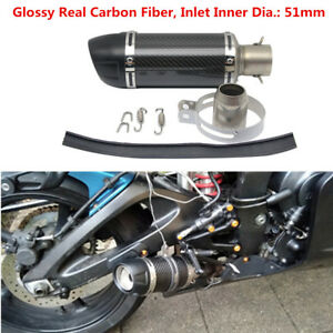 Carbon Fiber Motorcycle Short Exhaust Muffler Pipe DB Killer for 51mm Universal