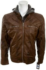 GUESS Men's Faux Leather Detachable Hood Motorcycle Jacket