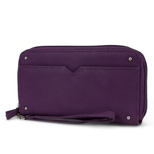 Mundi Double Zip Vegan Leather Womens RFID Clutch Wallet With Wristlet Strap