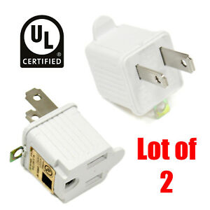 2 Lot | 3 to 2 Prong UL Certified Adapter AC Outlet Ground Converter Plug White