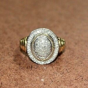 JWBR Sterling Silver & 18k Gold Clad 12 TCW Diamond Pave Ring Sz 7.75 [12WEI]