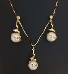 14k Yellow Gold Over Sterling Silver Swirled White Freshwater Pearl Necklace Set
