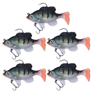 5pcs Soft Fishing Lures Hook Freshwater 8.3cm20.5g Lead Head Jig Silicone Bait