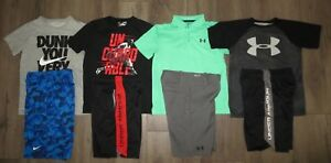 Lot 8 Boy UNDER ARMOUR NIKE Dri-Fit Polo T-Shirts Athletic Golf Shorts YSM Small