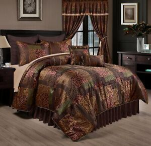 Chezmoi Collection 9 Piece Floral Jacquard Patchwork Comforter or Curtain Set