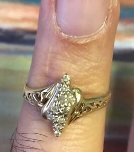 Pre Owned 10K Solid Yellow Gold Cluster Ring With Natural Diamonds 2.2Gm S8.3
