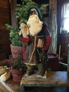 Primitive Early Style Christmas Log Cabin Quilt Santa Claus-Angel