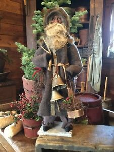 Primitive Early Style Christmas Gray Coat Santa Claus-Bells-Lantern