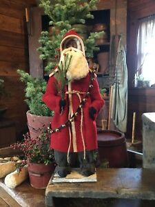 Primitive Early Style Christmas Red Wool Coat Santa Claus-Bells