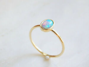 Generous Girl Wedding Yellow Gold Filled Opal  Engagement Ring Jewelry Size 6-10