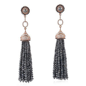 Natural Ice Diamond Beaded Tassel Earrings 18kt Solid Rose Gold Designer Jewelry