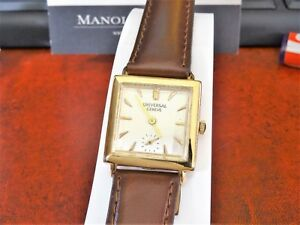 Vtg 1940s Universal Geneve 18K Rose Gold 16-J Men's Watch w 18mm Leather Band