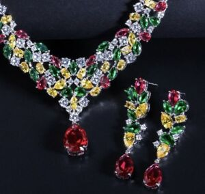 18k White Gold Necklace Earrings Set made w Swarovski Crystal Multicolor Stone
