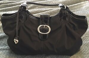 BRIGHTON Black NICHELLE NylonPatent Leather Large Tote Handbag Purse-Near Mint