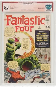 Fantastic Four 1 CBCS 5.0 SS Stan Lee & Jack Kirby White Pgs 1st App Origin cgc