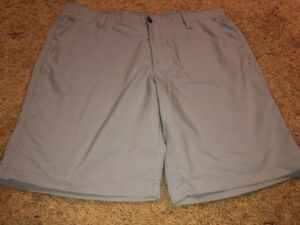 Under Armour Gray Loose Fit Quick Dry Stretch Waist Shorts Sz 40 Mens Golf
