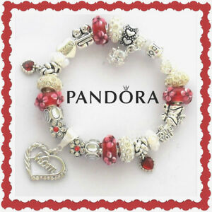 Authentic Pandora Bracelet Silver with MOM Red Family European Charms New Box