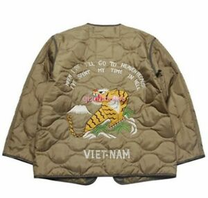 Men Floral Embroidery Quilted Liner Jacket Military Coat Army Outwear Spring New