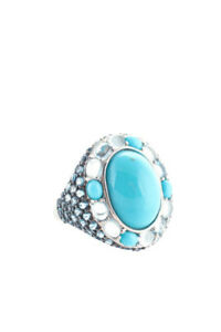 Rarities Ring Size 7.25 Cocktail Sterling Silver Turquoise Blue Topaz Moonstone