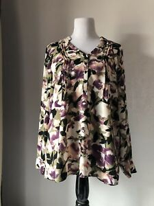 Simply Vera Vera Wang GreenBeigePurple Floral Long Roll Tab Sleeve Top Size L