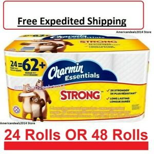 Charmin Essentials Strong Toilet Paper Bath Tissue Giant Roll 24 OR 48 Rolls NEW