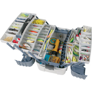 Large Fishing Tackle Box With 7 Tray Full Travel Holder Pack Handle-Locking New!