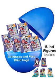 """Jumbo 8"""" PLASTIC SURPRISE Egg With 6 PHINEAS AND FERB BLIND BAGS WITH FIGURES"""