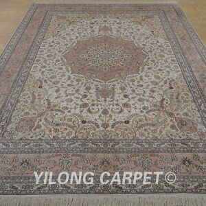 YILONG 9'x12' Pink Handknotted Silk Persian Carpet Furniture Durable Rug 0898