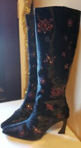SALE!  FENDI BEADED BLACK CALF HAIR LEATHER  BOOTS sz 939 OR 9.539.5 - PRISTIN