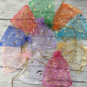 100x set Moon Star Organza Gift Bags Wedding Jewelry Drawstring Party Pouches