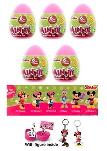 NEW 5 Minnie And Mickey Mouse PLASTIC SURPRISE Eggs With 3D Figure Inside