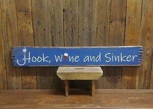 Fishing sign HOOK WINE and SINKER Rustic Wood Sign Cabin decorBoat dock